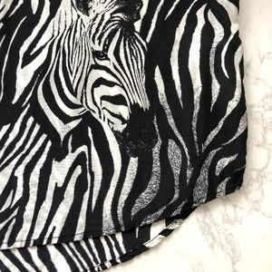 Equipment Tops - Equipment Zebra Print Silk Tee